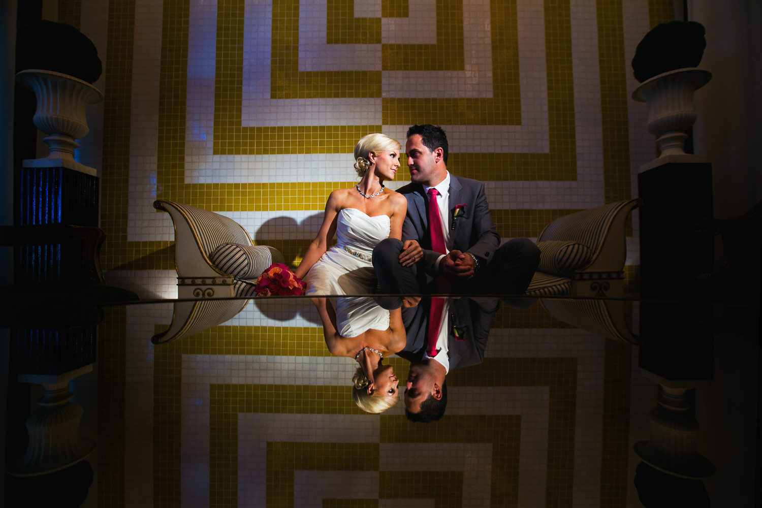 Avalon Palm Springs Photographer - Great photo of newly weds on couch