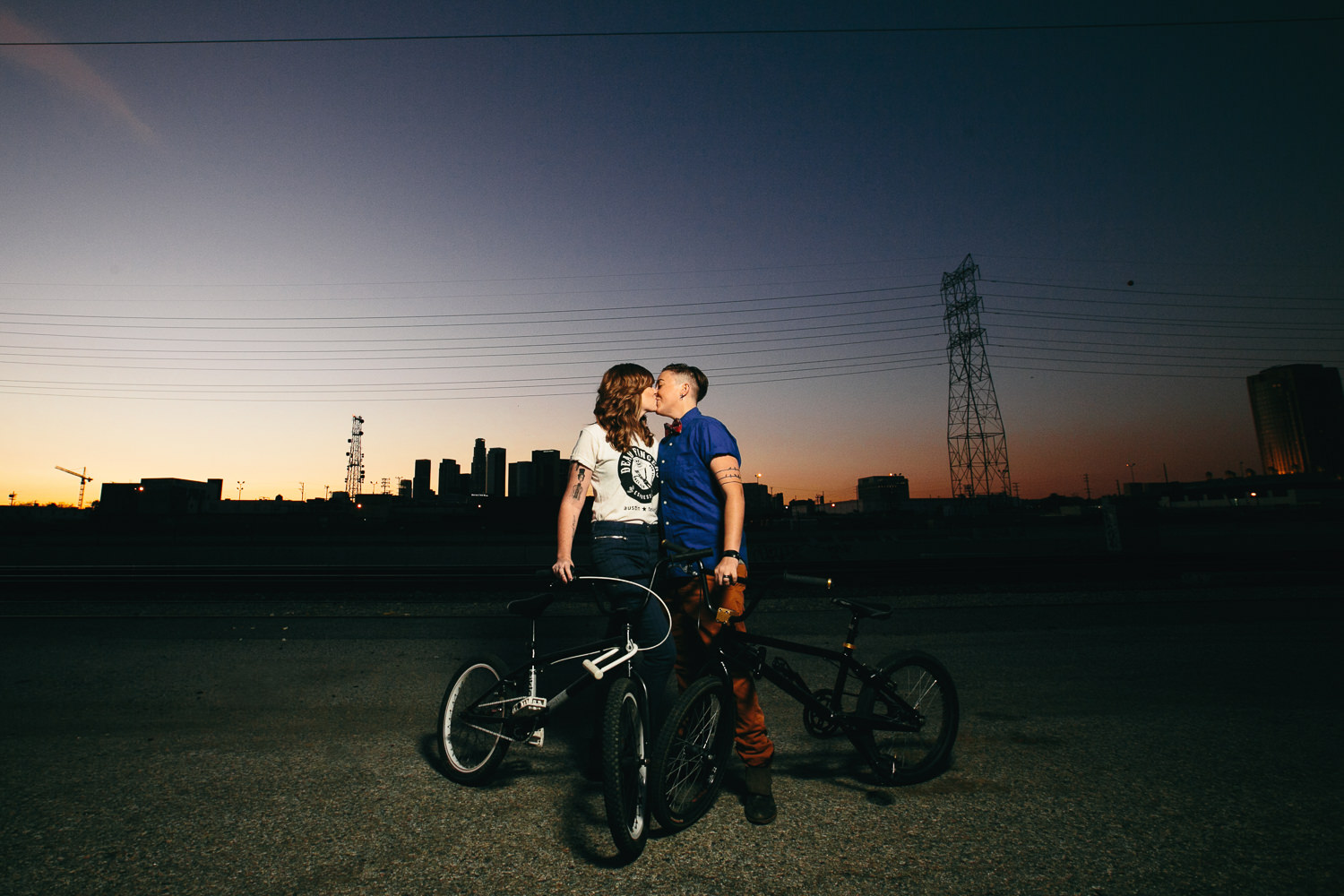 Same Sex Los Angeles Engagement - Kissing under the setting sun