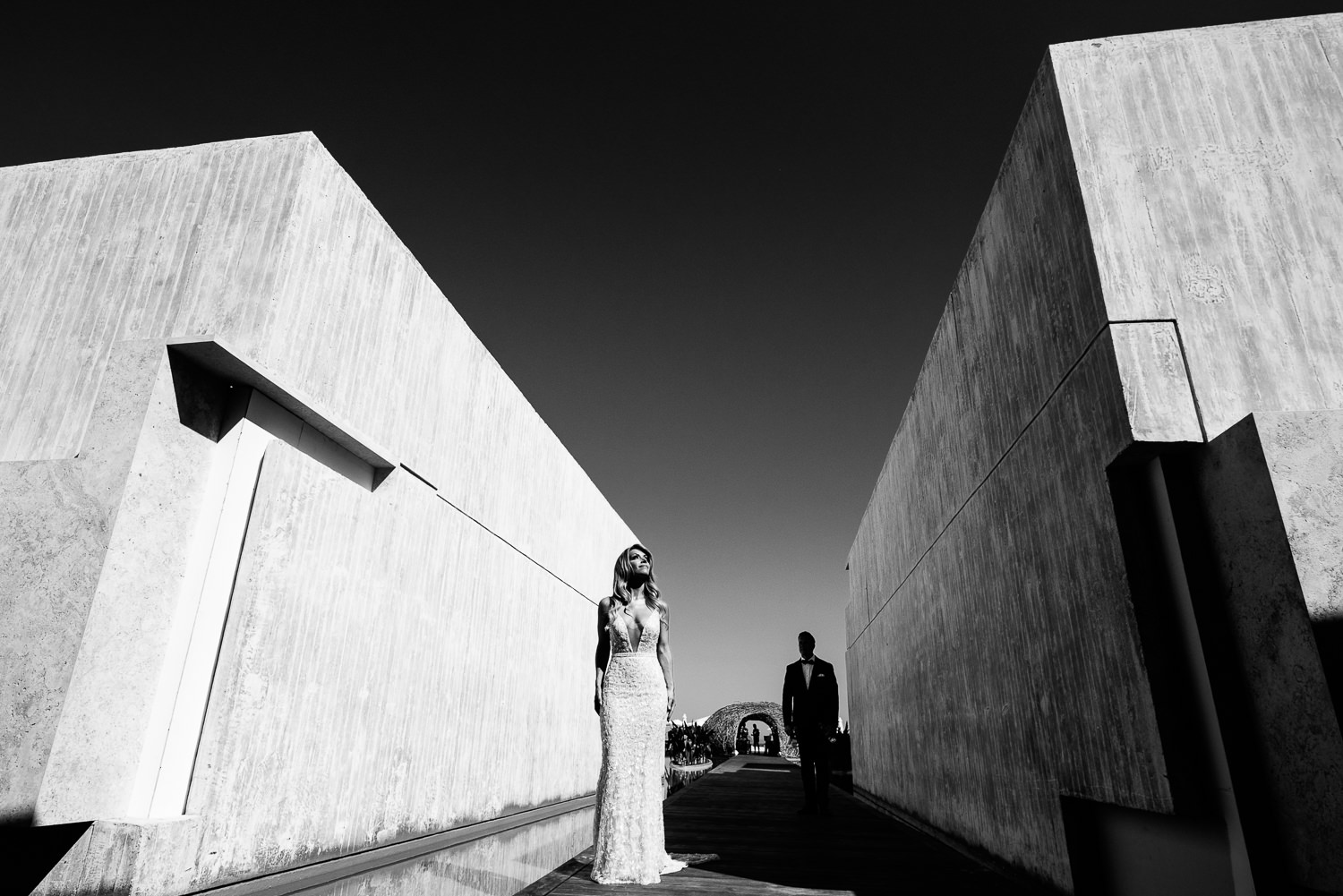 Viceroy Los Cabos Wedding - Bride and groom in black and white