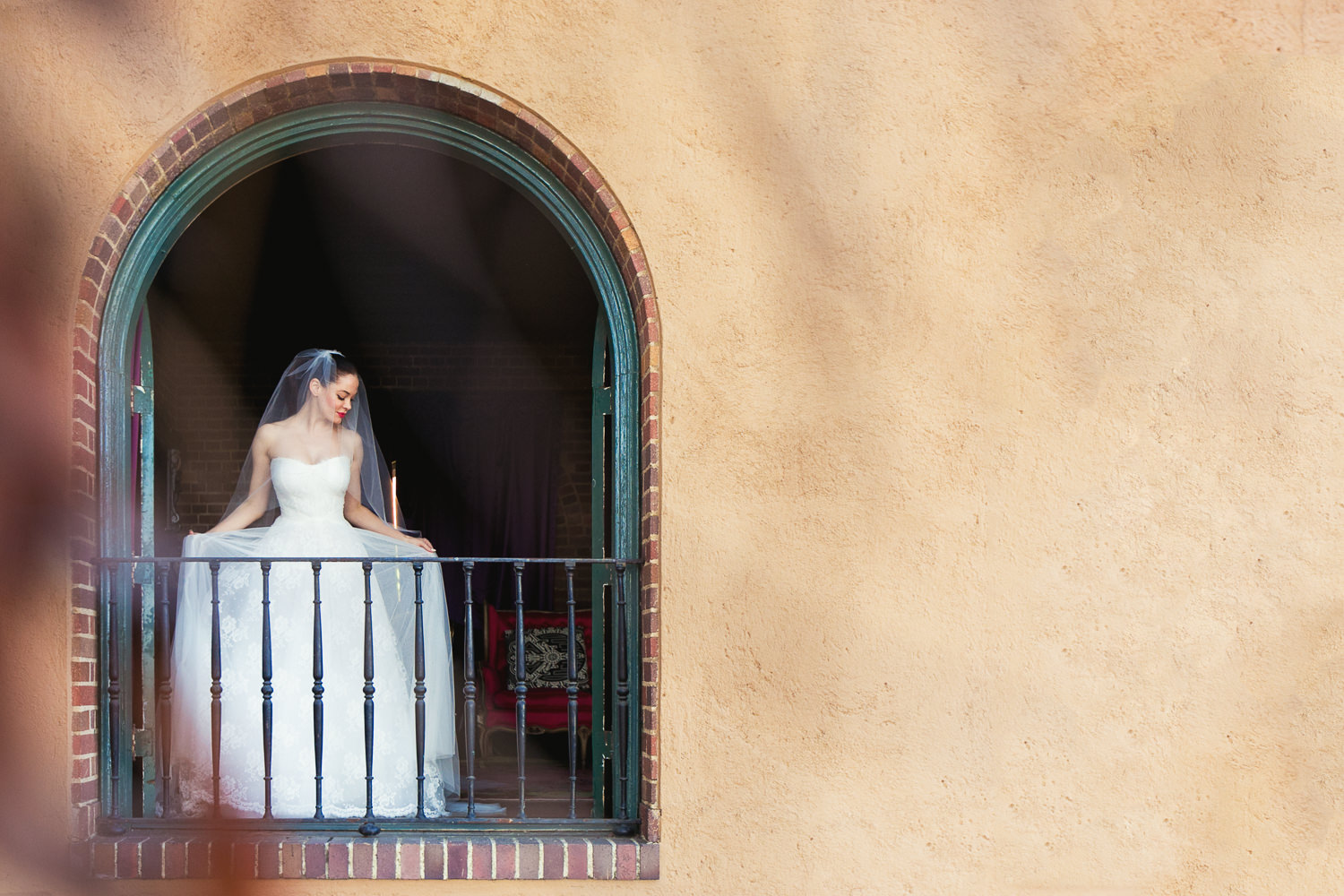 Rose McGowan Wedding at Paramour Estate - Bride on her balcony