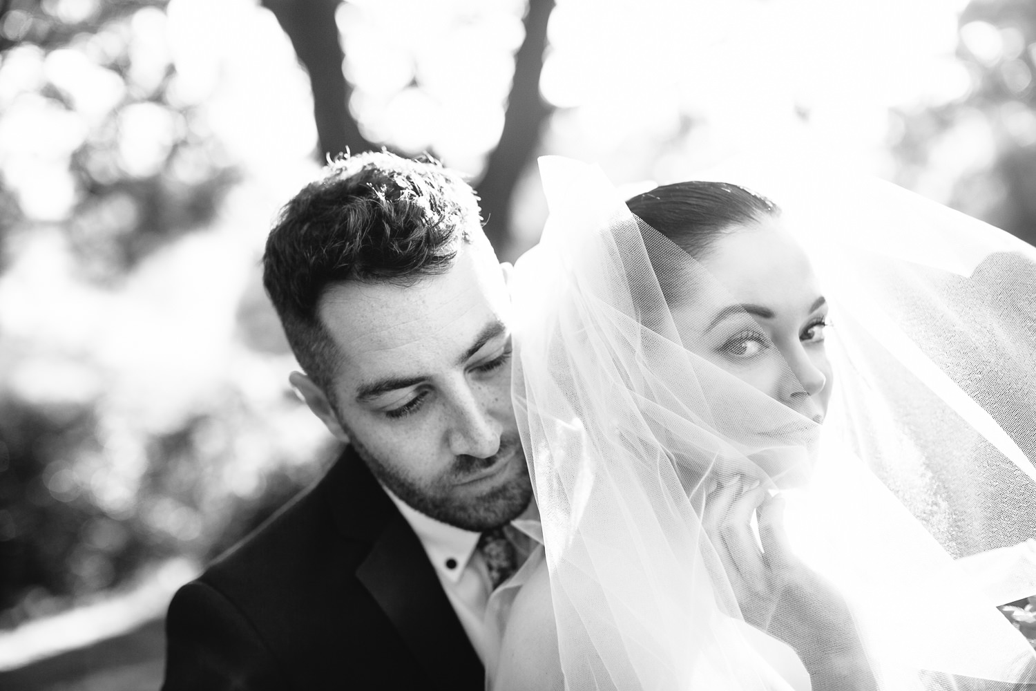 Rose McGowan Wedding at Paramour Estate - Black and white of newly weds