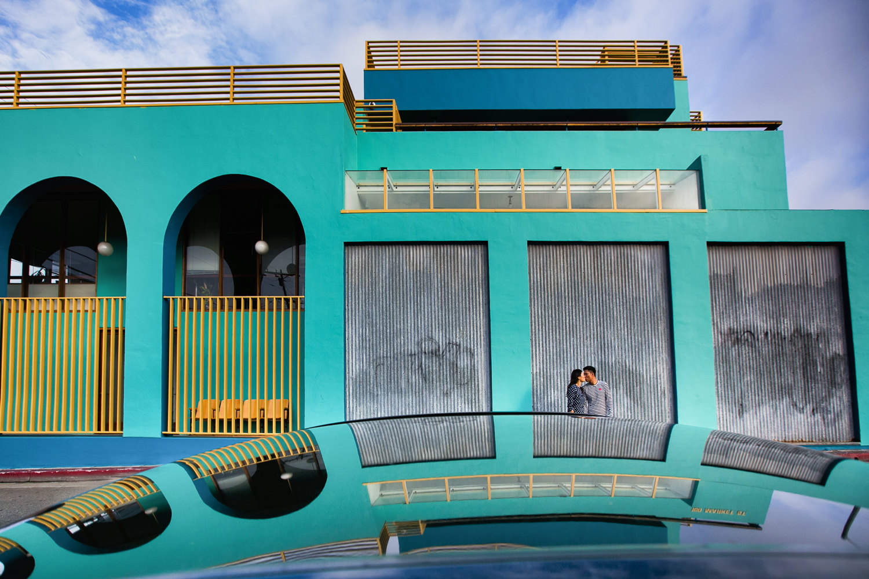 Venice Beach Engagement Photos - Car top reflection
