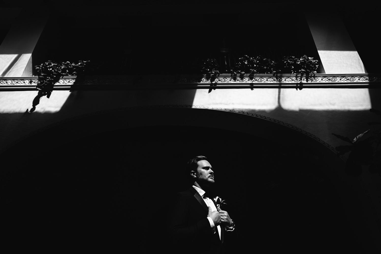 Ebell Long Beach Wedding - Groom in black and white