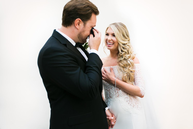 Ebell Long Beach Wedding - Grooms emotion on seeing his bride