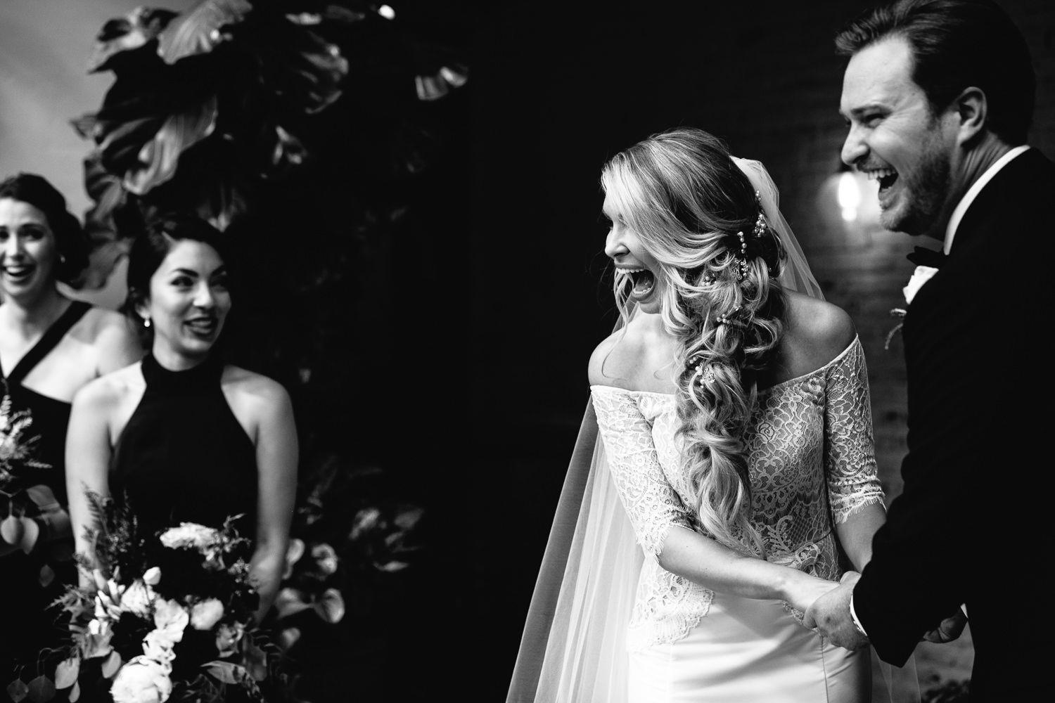 Ebell Long Beach Wedding - Laughing together in the ceremony
