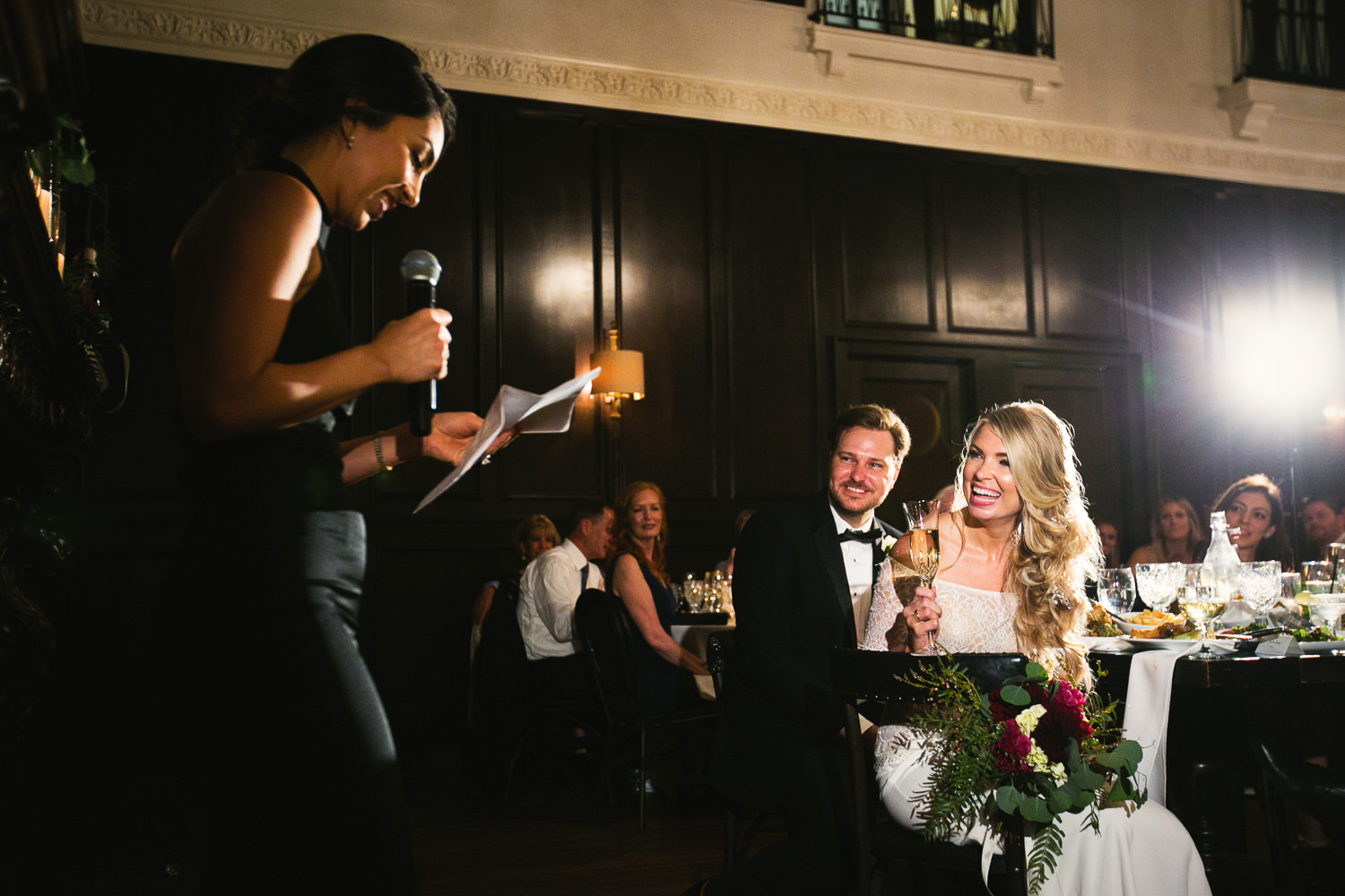 Ebell Long Beach Wedding - Toasting being given at the reception