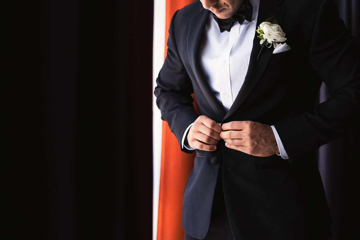 Groom portrait at the Le Meridien before his Bently Reserve Wedding