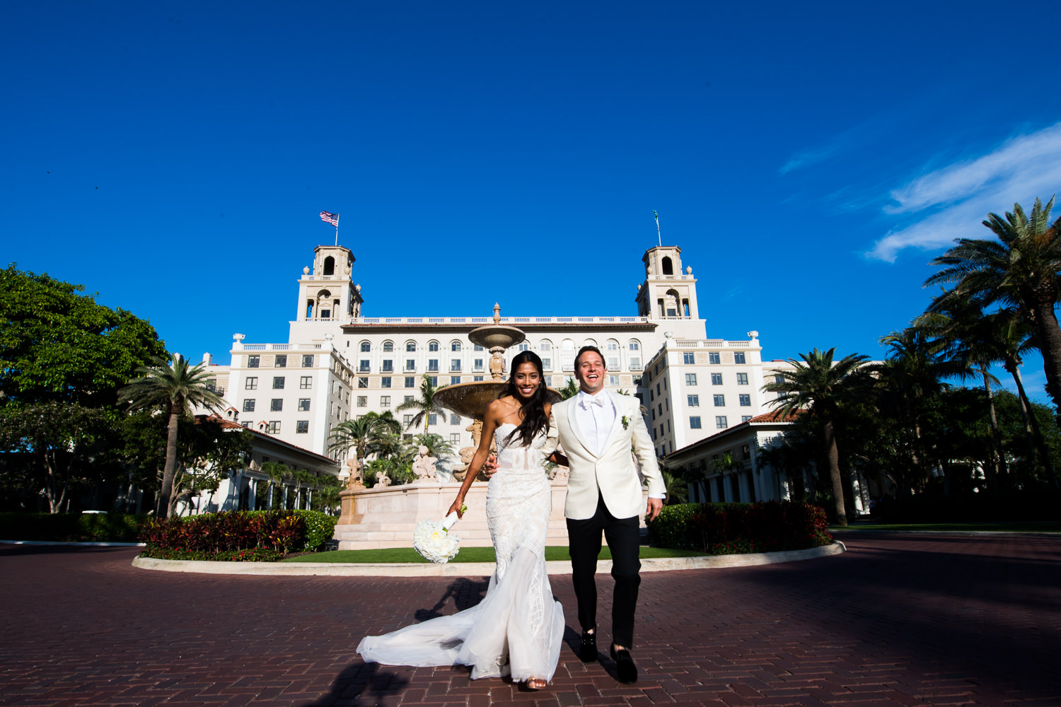 Classic Breakers Palm Beach Wedding Photo on the driveway