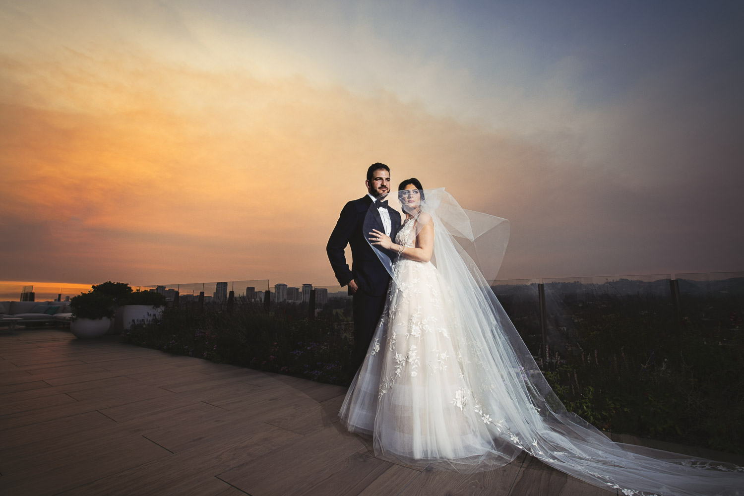The Beverly Hilton Wedding on the rooftop