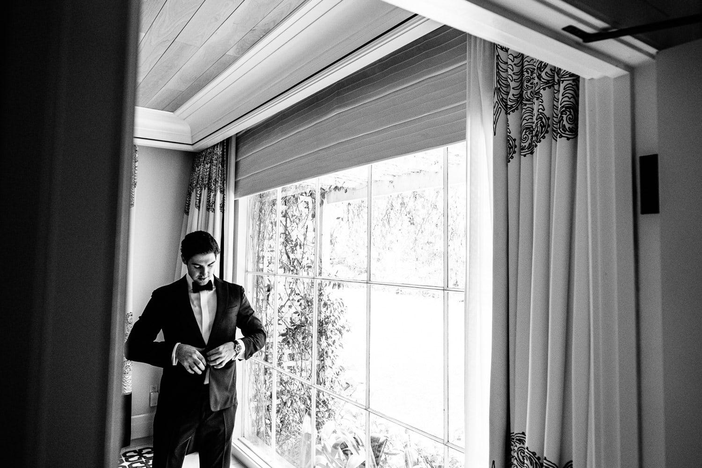 Black Tie Wedding Groom getting ready at Hotel Bel-Air