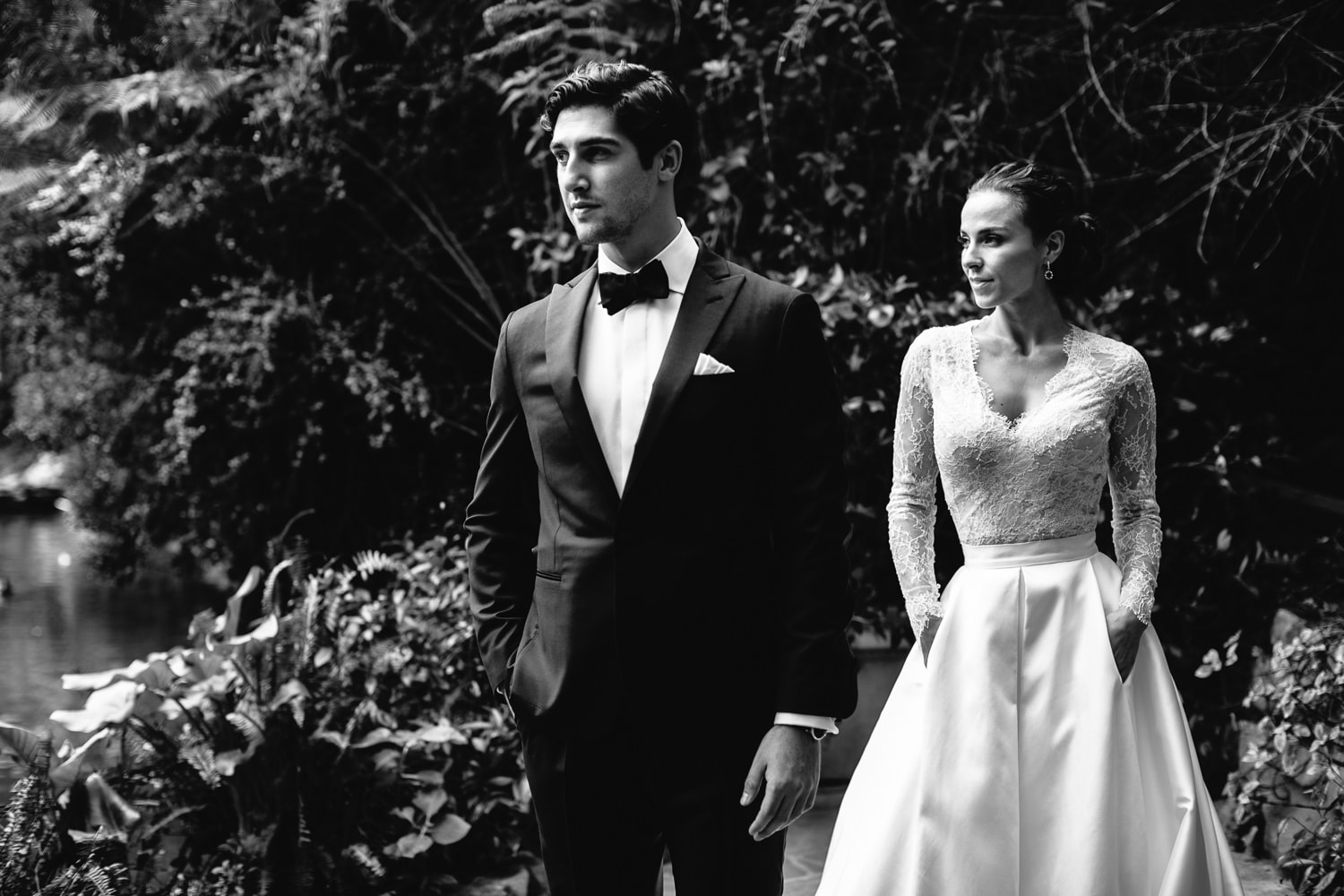 Classic Black and White wedding photo by the Hotel Bel-Air pond