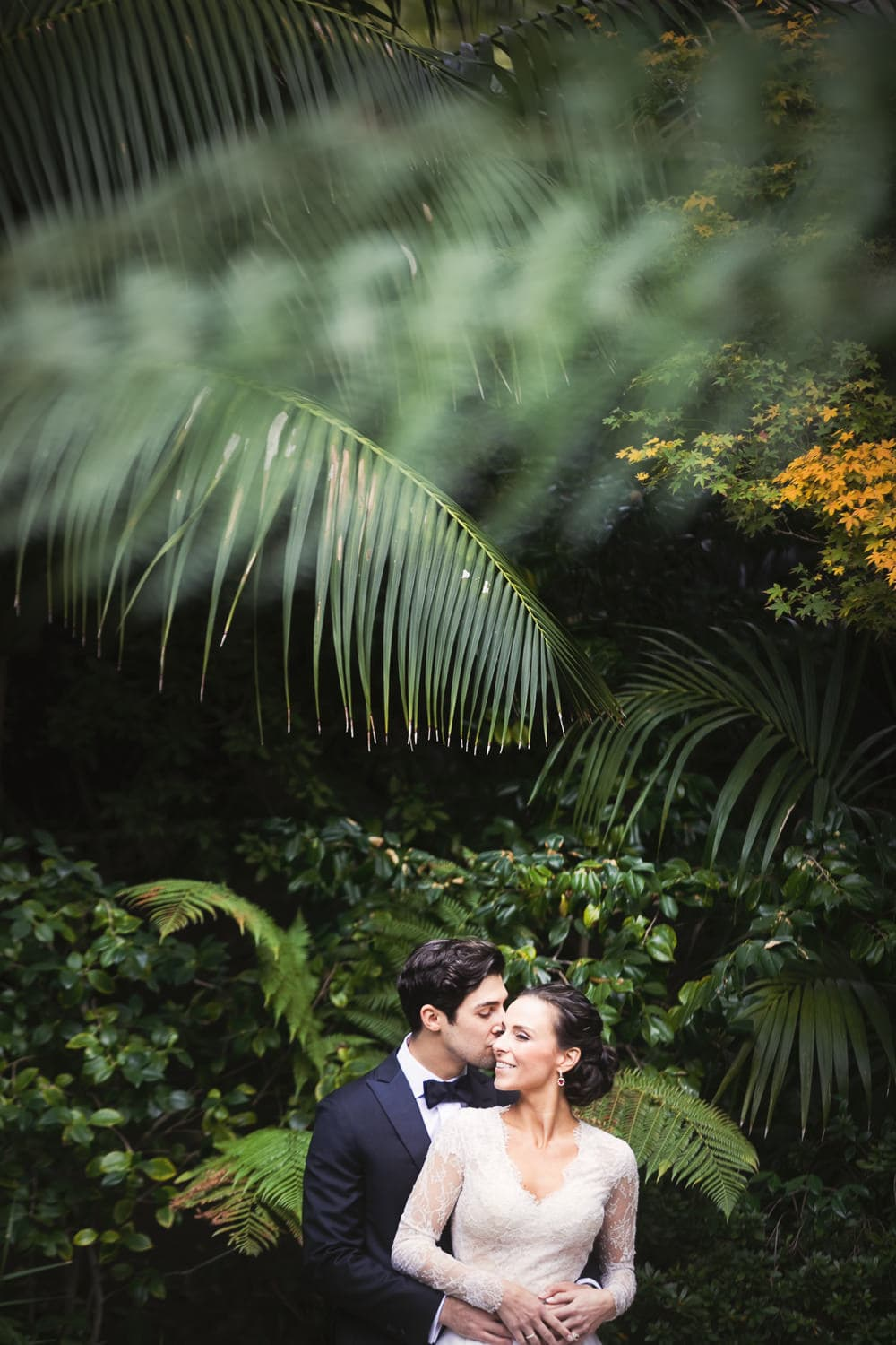 Color wedding photo by the Hotel Bel-Air pond