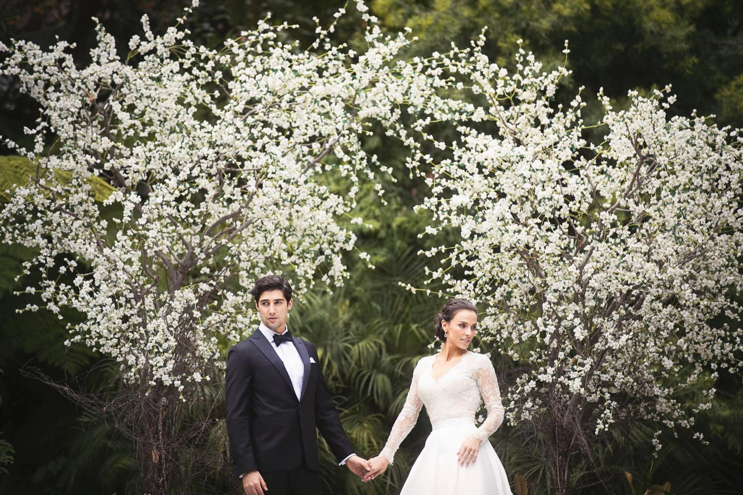 Modern Bride and Groom Portrait at their Hotel Bel-Air ceremony site