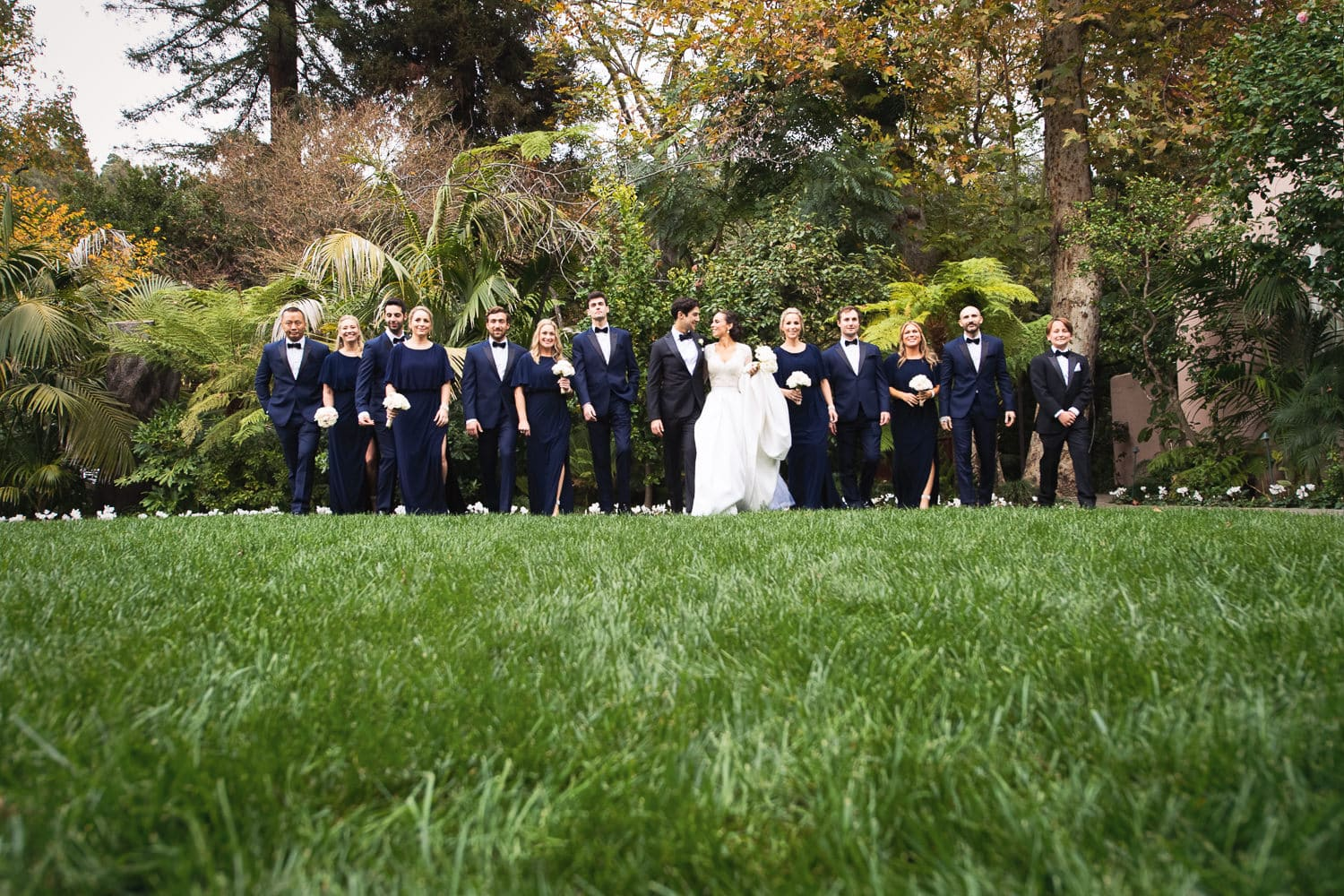 Bridal party inspiration on the Hotel Bel-Air lawn