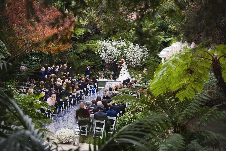 Photo of Hotel Bel-Air wedding ceremony from the bridge