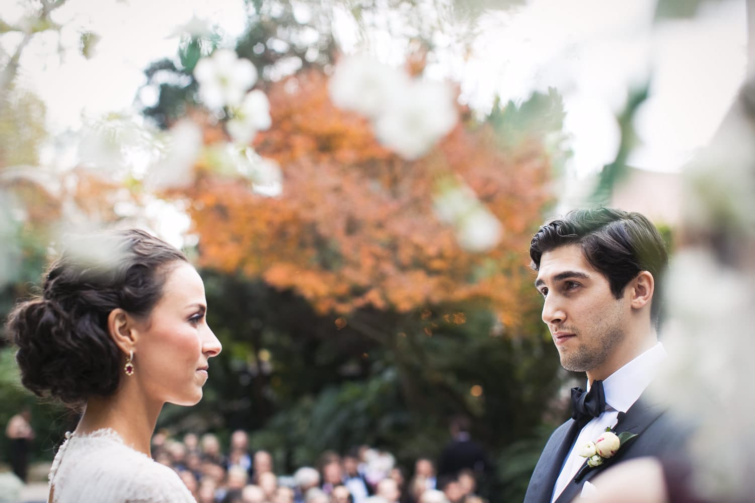 Fall Hotel Bel-Air wedding ceremony moment