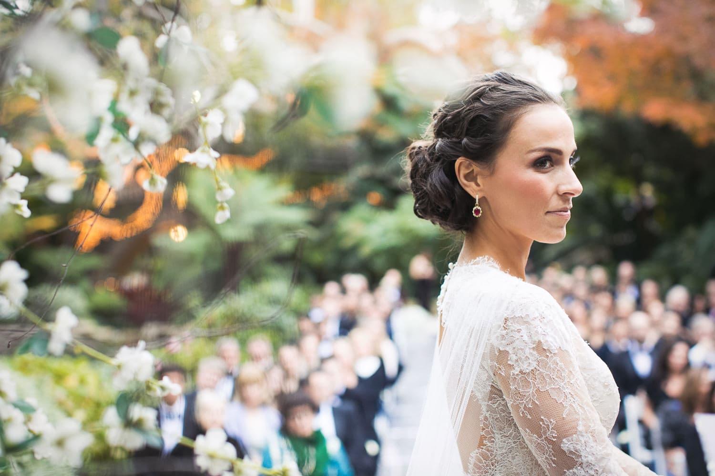 Stunning bride standing at her Hotel bel-Air wedding ceremony