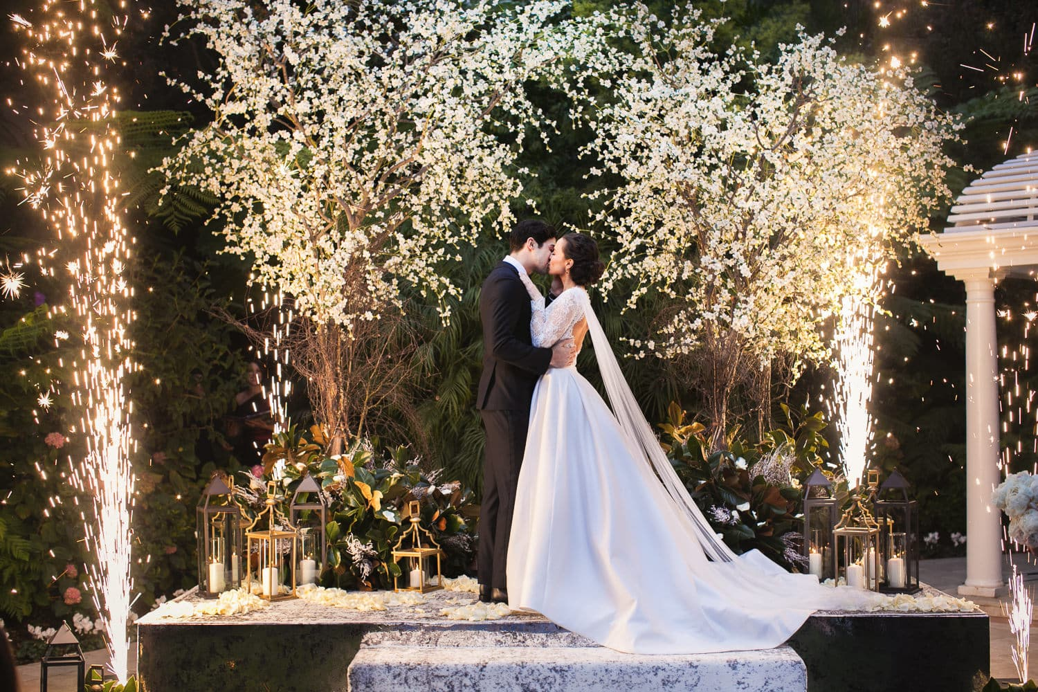 First kiss wedding ceremony with fireworks at the Hotel Bel-Air