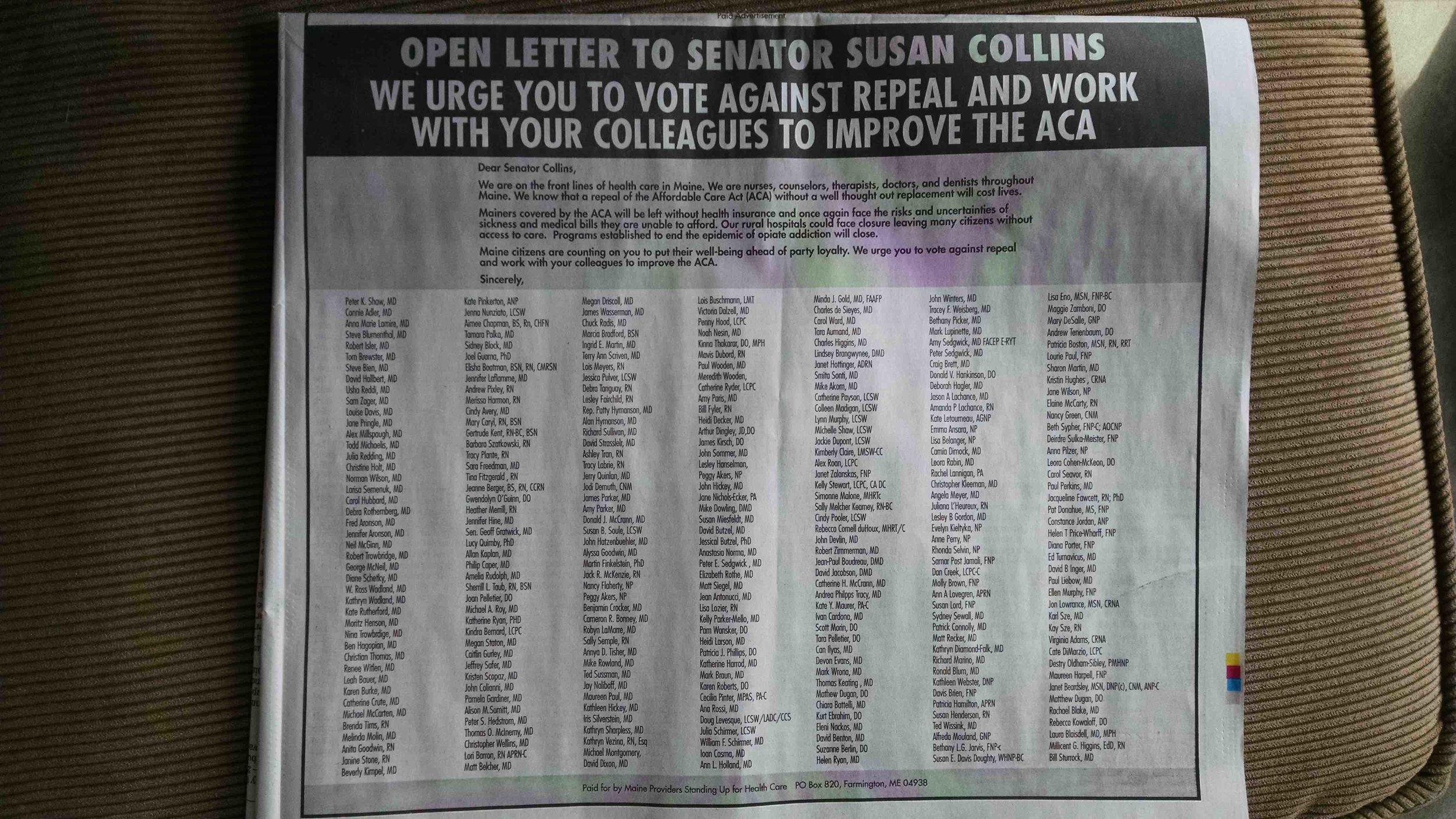 MPSUH open letter to Senator Collins