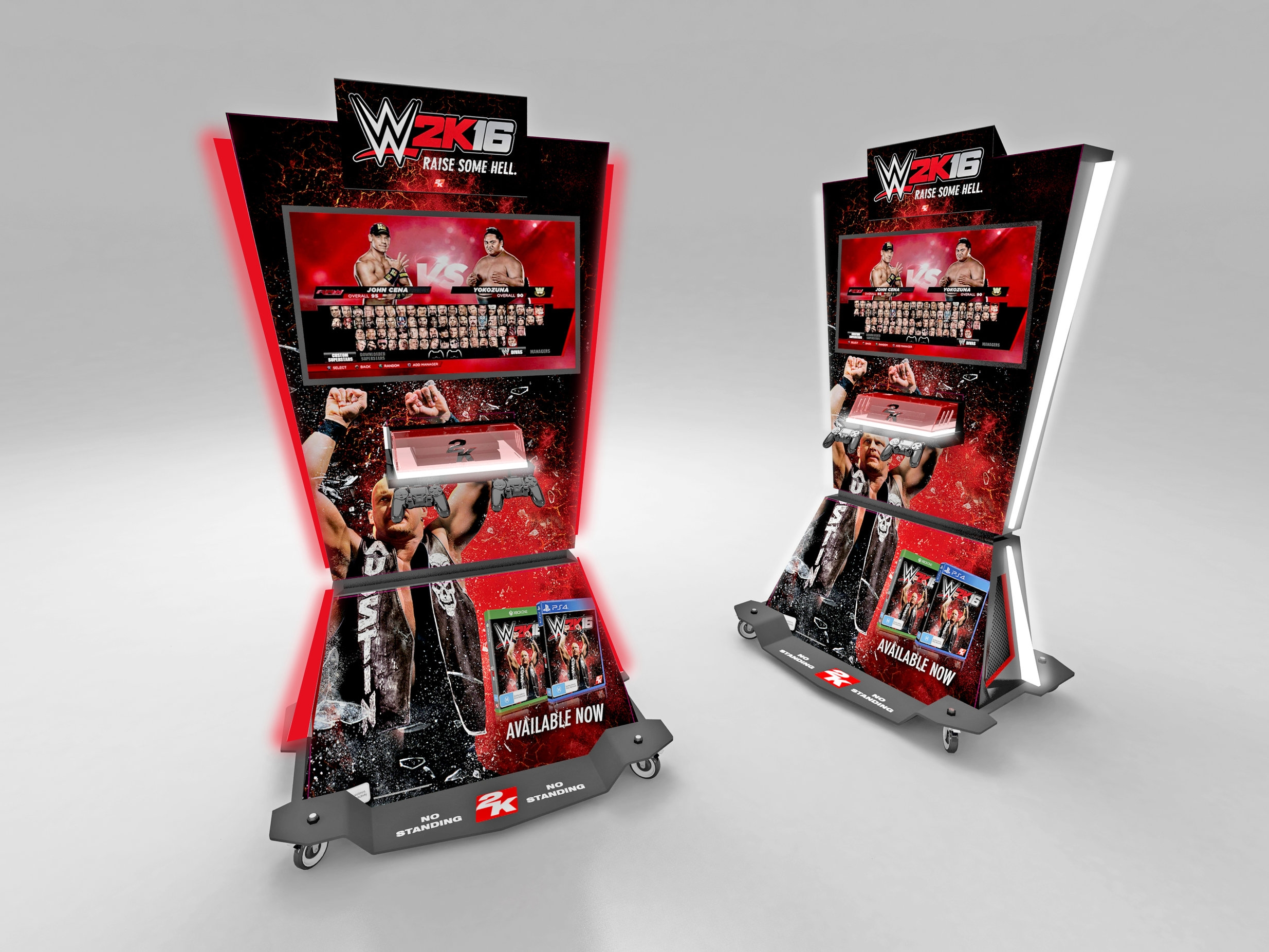 2K  2K Games required a mobile gaming kiosk to use at product launches and events across Australia and NZ. The unit travels in a branded crate to events, and the Gaming Kiosk can be pushed together for a two sided back to back option if required.  >>  read more