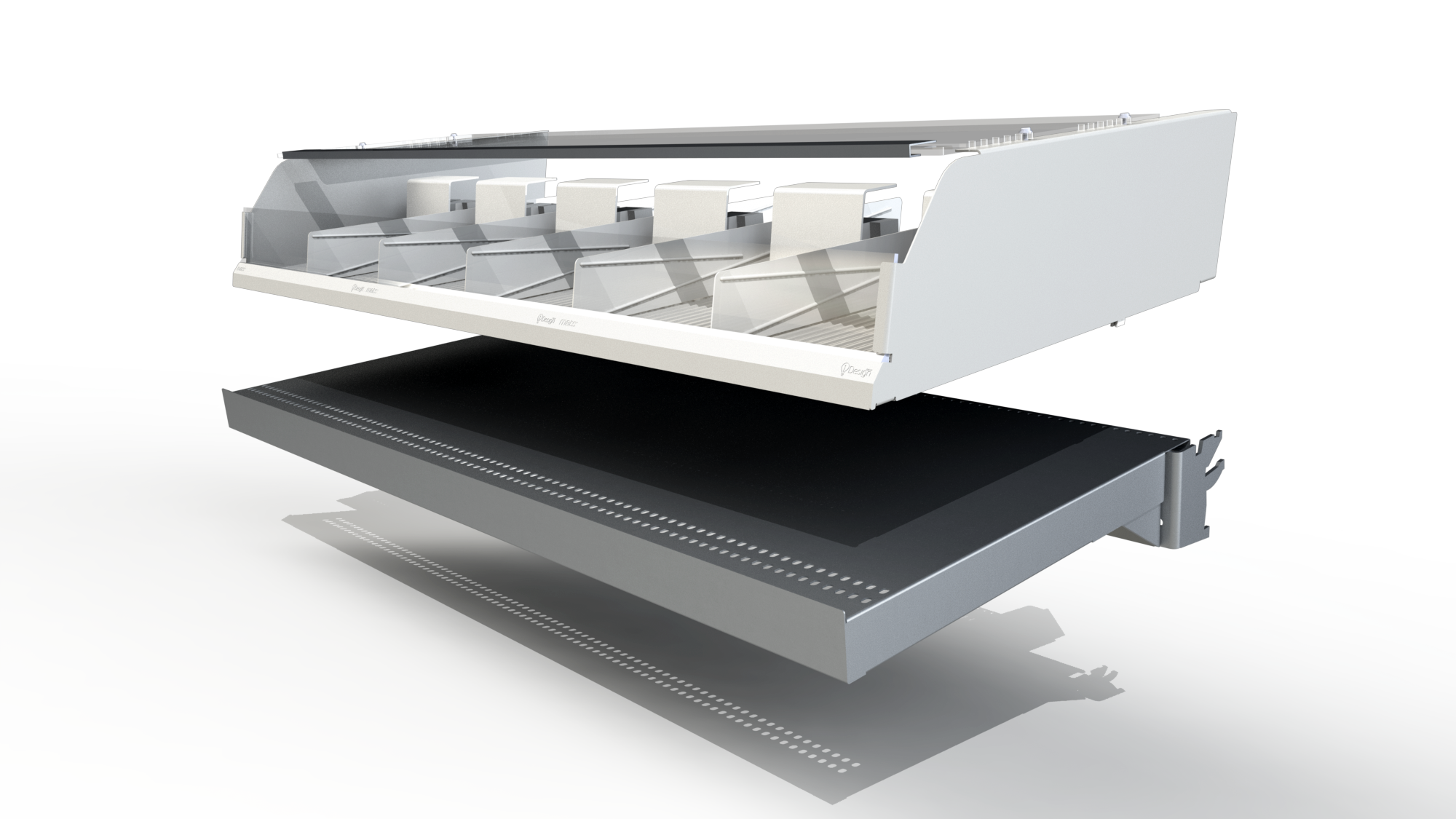 """OVERLAY SHELF  The MATS system can fit on most existing shelves or can be installed with our own exclusive """"All-in-One"""" shelf"""
