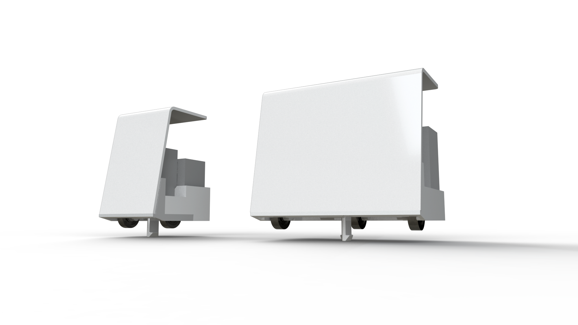 LARGE + SMALL CADDIES  2 widths and 2 different heights of pusher panels