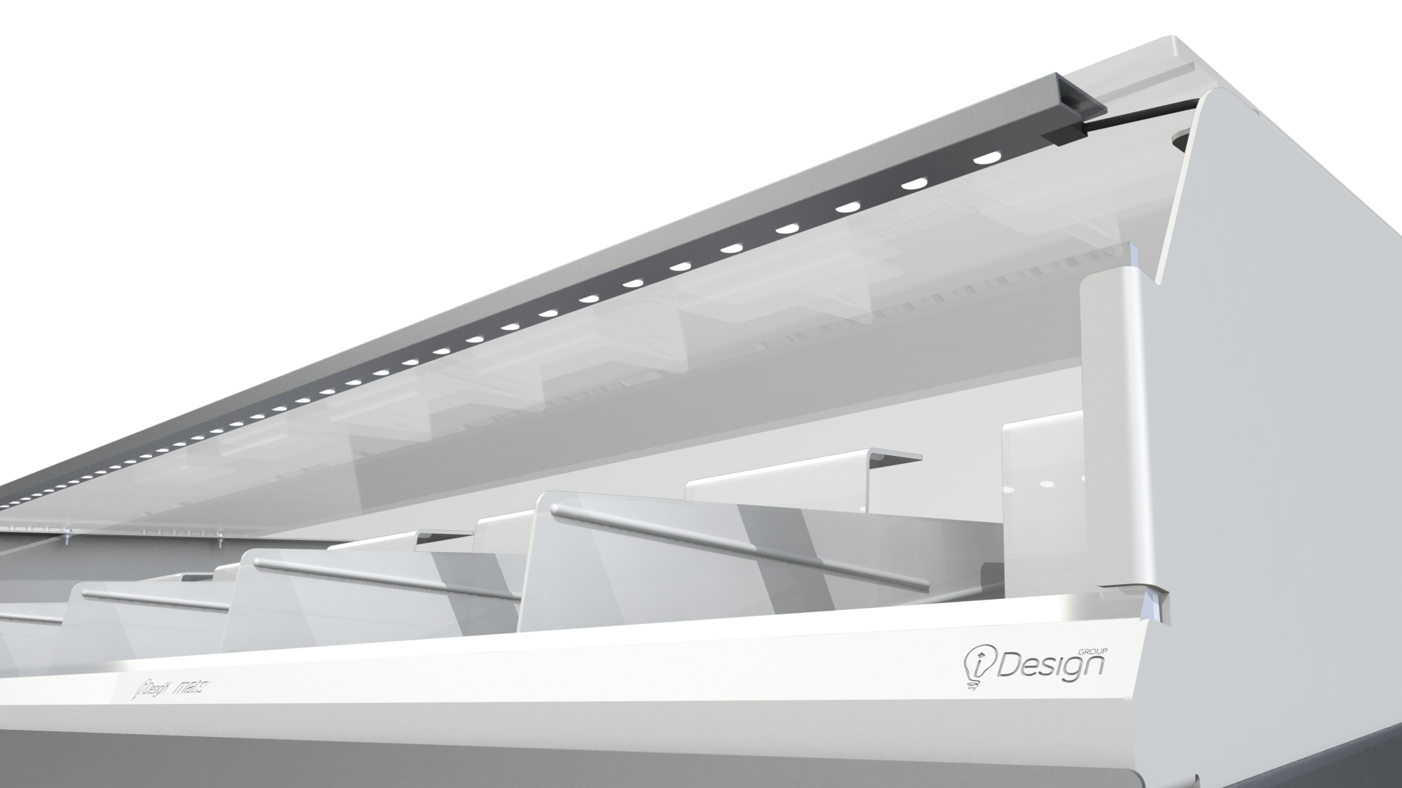 LED LIGHTING  A built in LED across the front of the top cover puts your products into the best possible light.