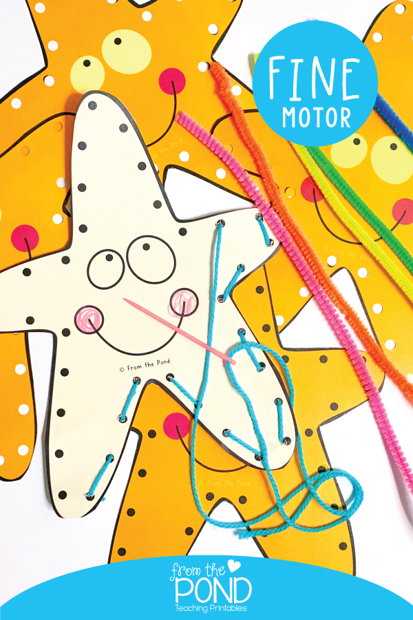 Starfish Lacing Card for fine motor coordination