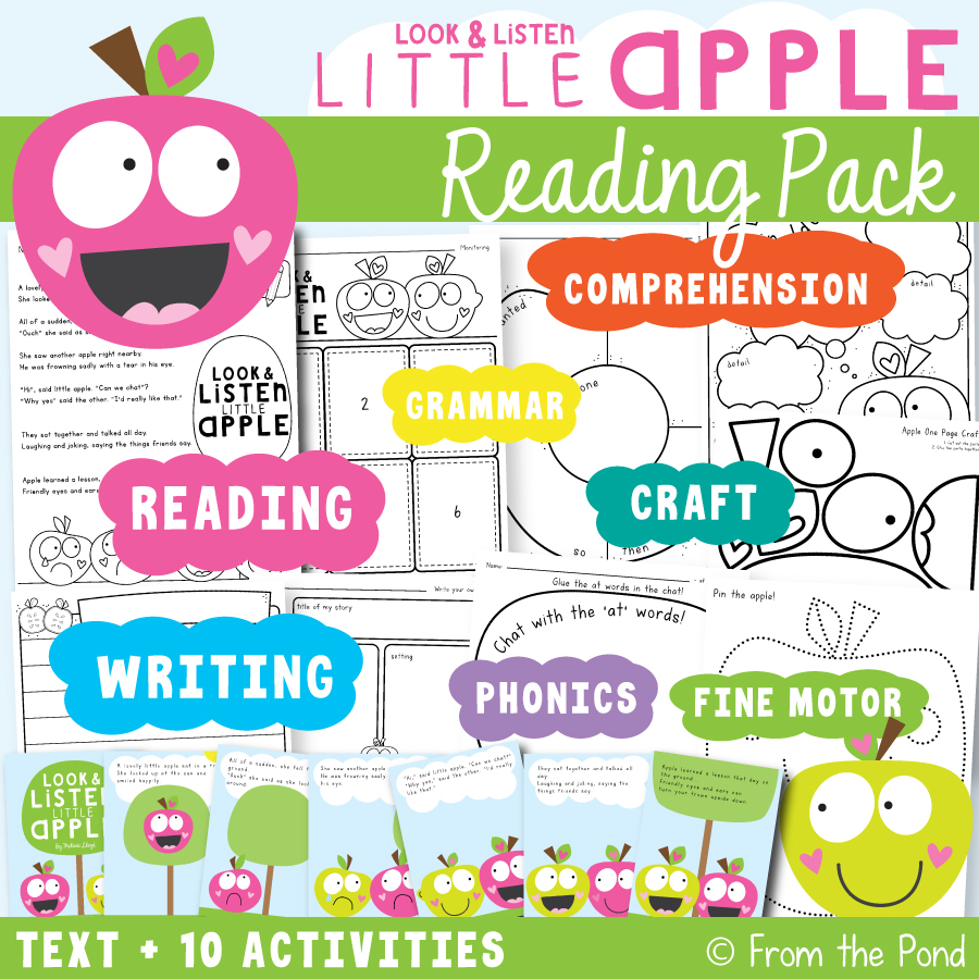 Look and Listen Little Apple Printable Reading Pack - activities for little learners!
