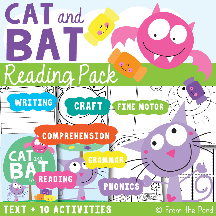 Cat and Bat Printable Reading Pack - activities for little learners