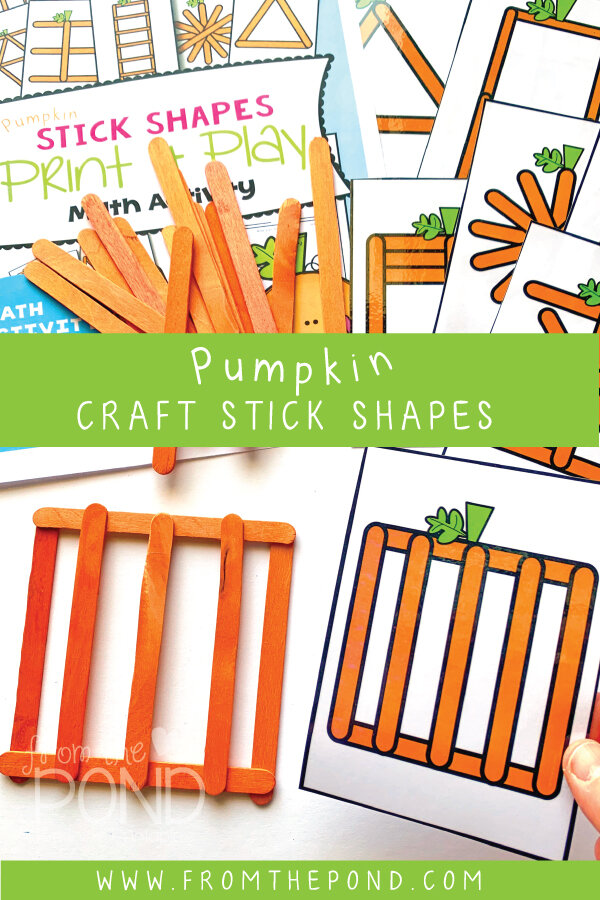 Pumpkin Stick Shapes - an engaging math center for fall.