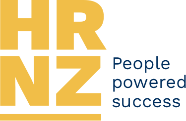 Human Resources Institute of New Zealand logo in blue letters with stylised person with outstretched arms above lettering
