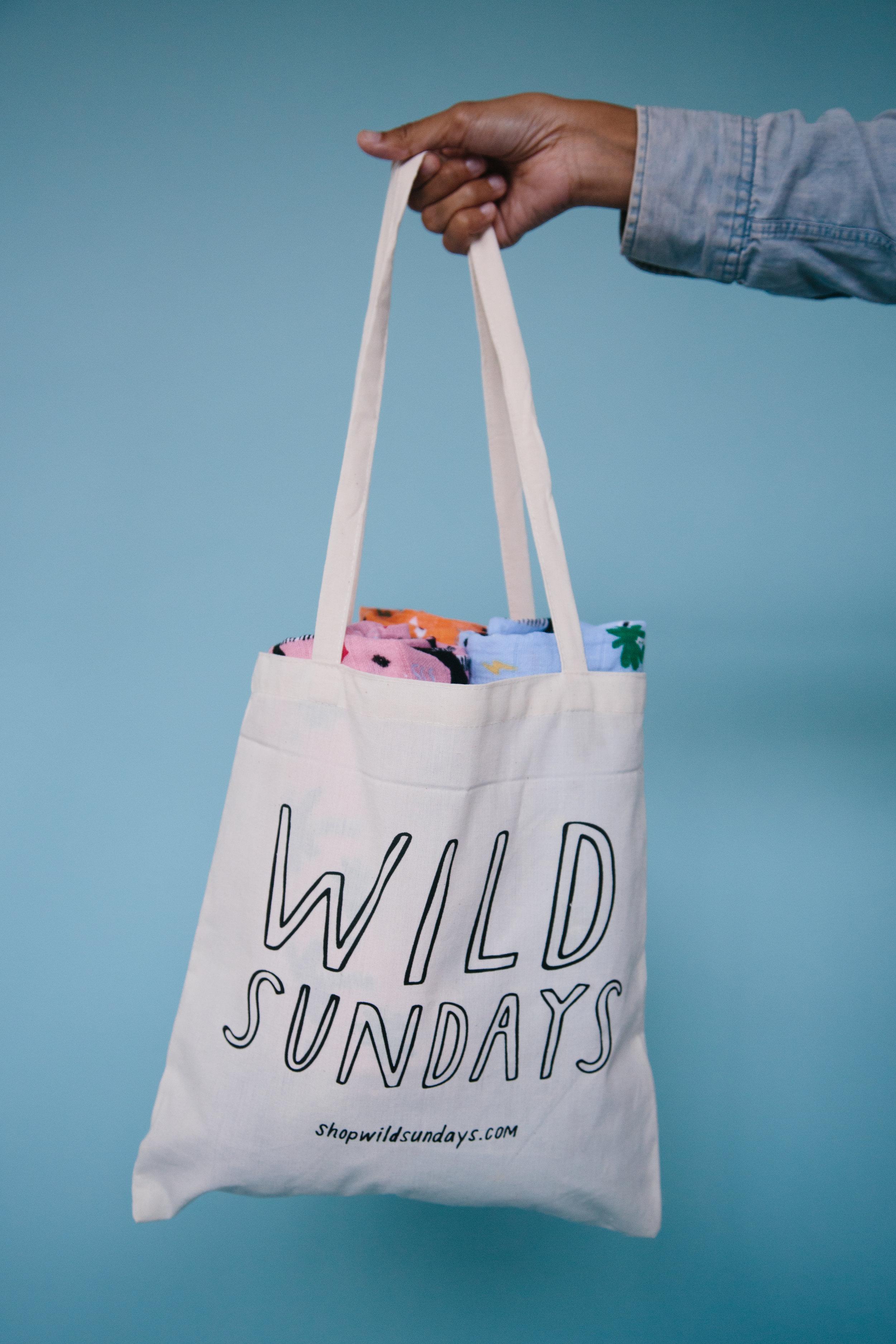 reusable tote bag wild sundays