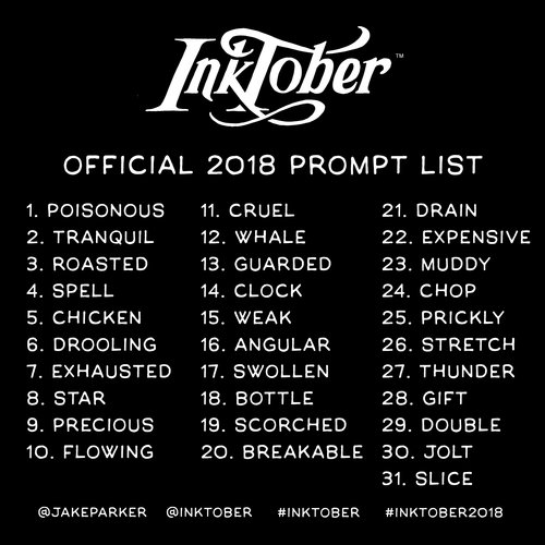 Inktober official 2018 prompt list