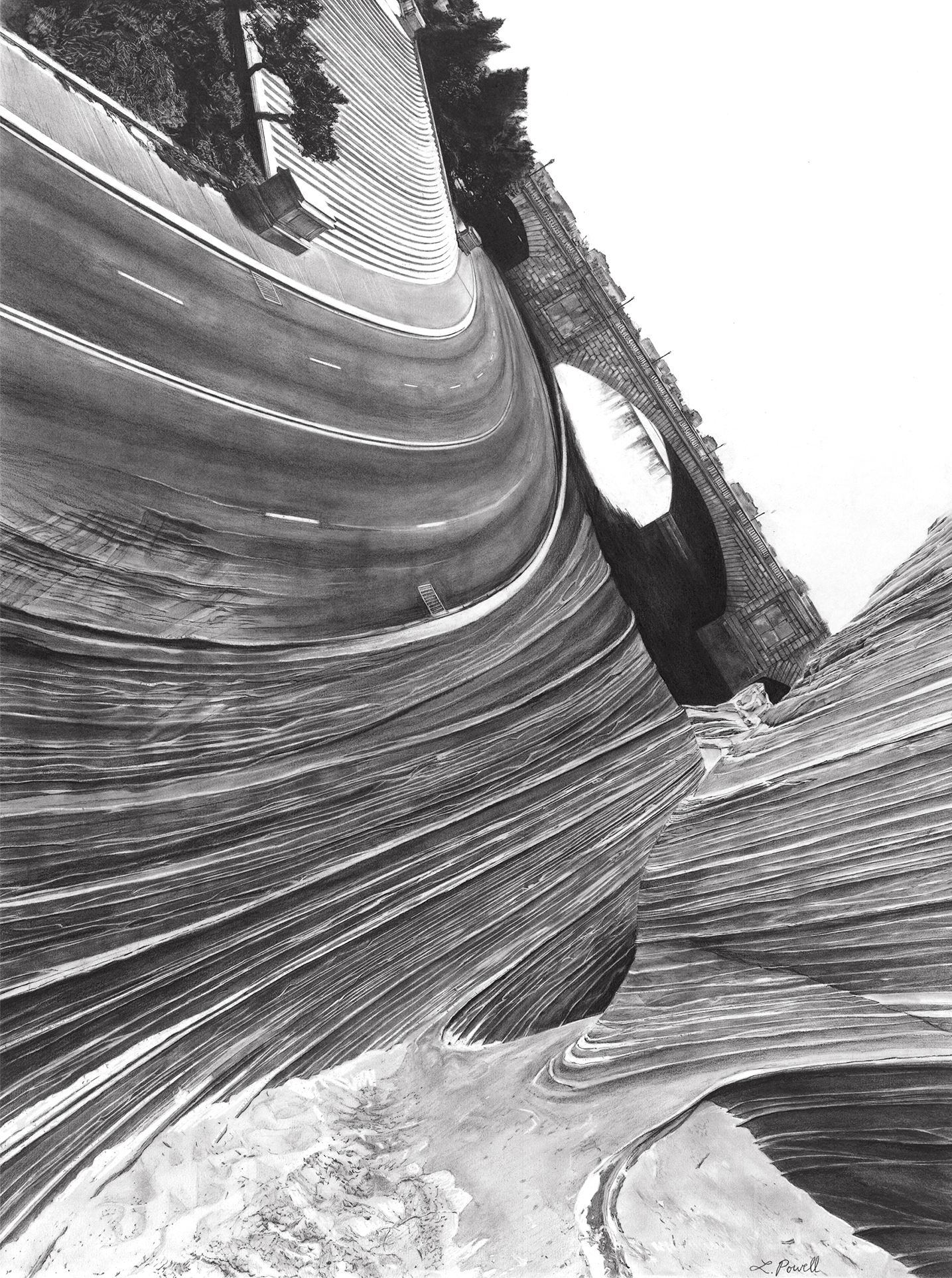 """Sand Plus 190 Million Years    Charcoal on archival paper  18""""x24"""""""