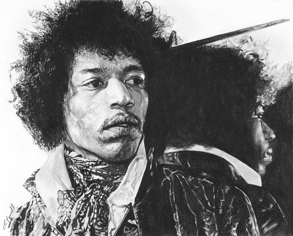 "Jimi Hendrix    Charcoal on archival paper  8""x10"""