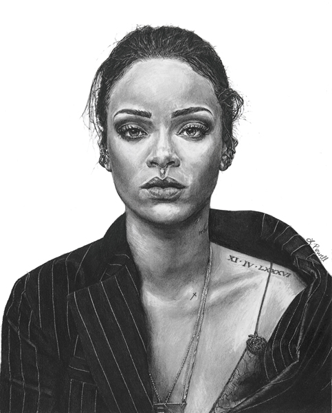 "Rihanna    Charcoal on archival paper  8""x10"""
