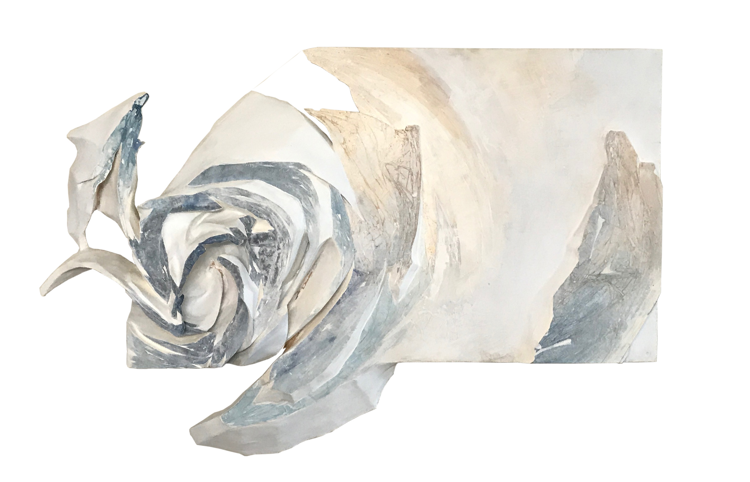 "Contours Yet Unformed    Insulation foam , watercolor paper, acrylic paint, spackle  27""x44""x5"""
