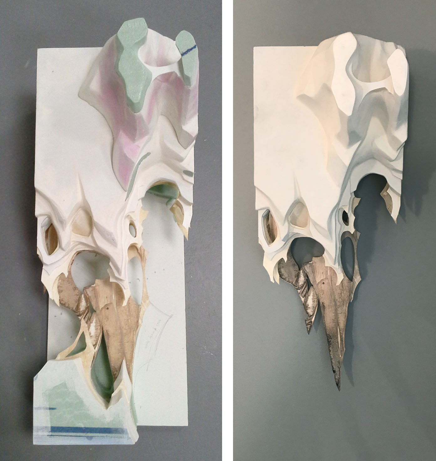"""Insular Study    Insulation foam , watercolor paper, acrylic paint, spackle  25""""x10""""x10"""""""