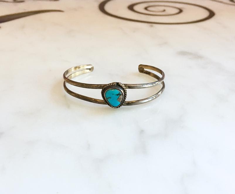 turquoise stone cabochons Silver Bangle