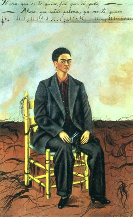 Self Portrait with Cropped Hair (1940) by Frida Kahlo