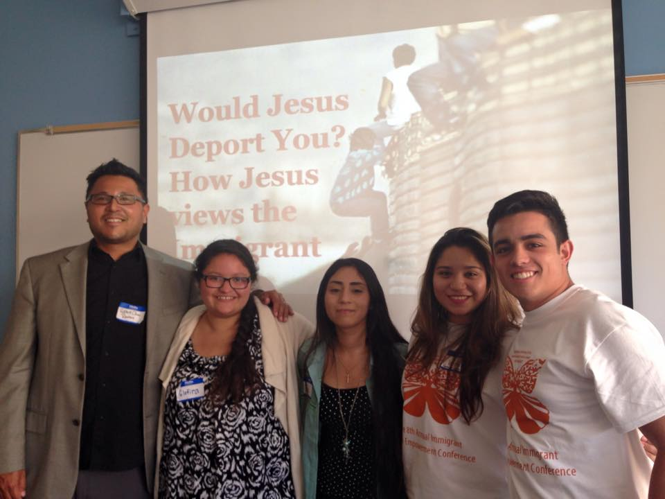 "J4R students leaders present a workshop called ""Would Jesus Deport You? How Jesus Views the Immigrant"" at the Immigrant Youth Empowerment Conference run by the UCLA student group, IDEAS."