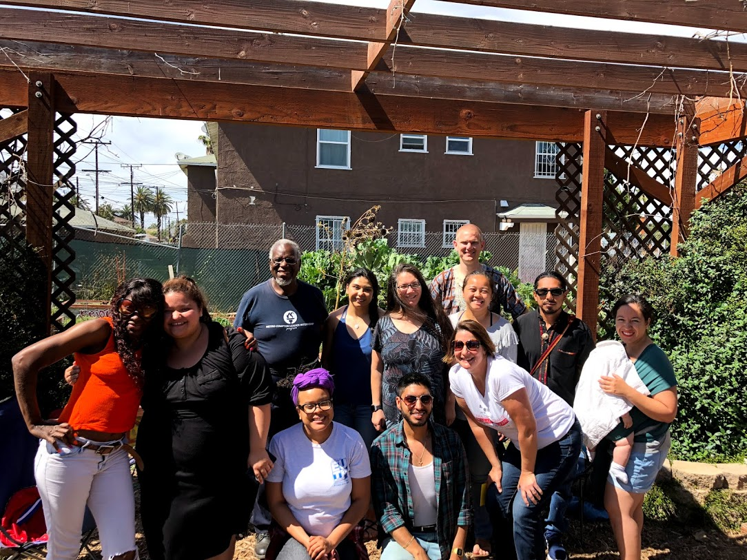 J4R Leadership Cohort 2018 with a leader at the Compton Community Garden.