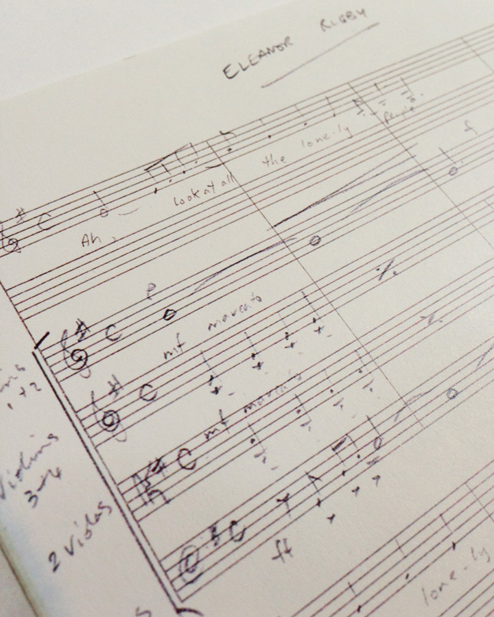 """A page from George Martin's handwritten manuscript for """"Eleanor Rigby"""""""