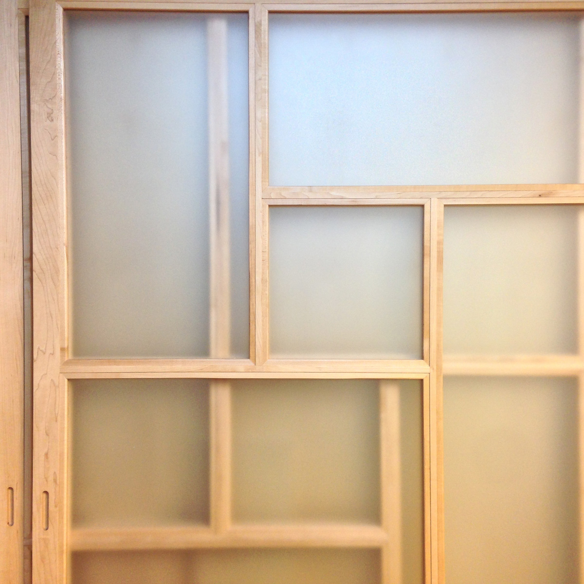 Shoji doors in maple with frosted glass. These were installed into a walk in closet.