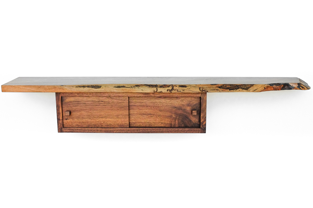 Box Shelf - A simple but functional shelf with attached dovetail box compartment. An elegant design that's sure to draw attention in whatever room it inhabits.