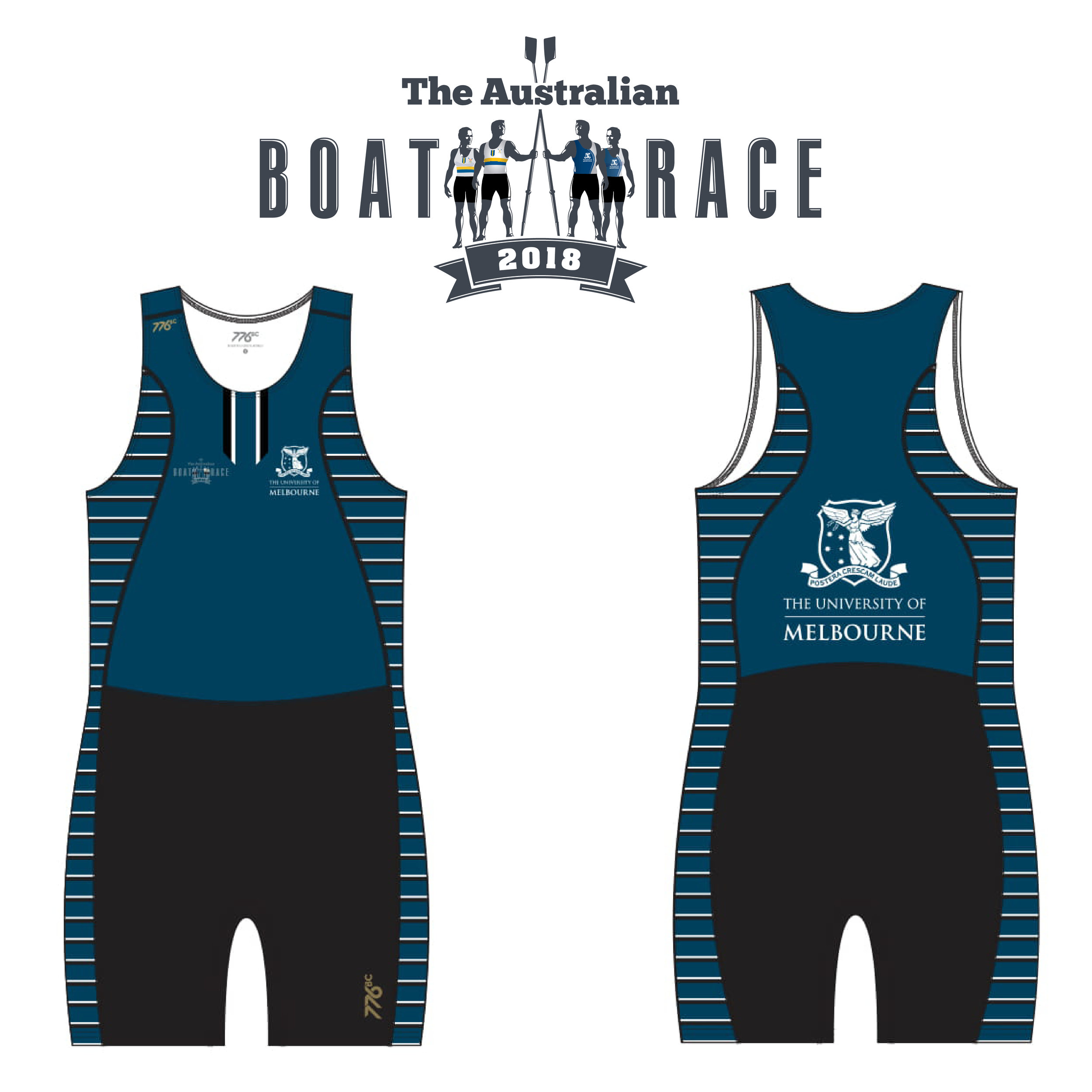 Melbourne - Melbourne will wear a uniform based around their traditional blue colour, with a lower black section from the waist down and a side panel running the length of the rowing suit with horizontal white stripes on blue. The crest of Melbourne University features in large size on the back of the suit showing the Goddess of Victory (Nike) over the Southern cross. The crest is also featured on the front left pocket with the logo of The Australian Boat Race on the right pocket.