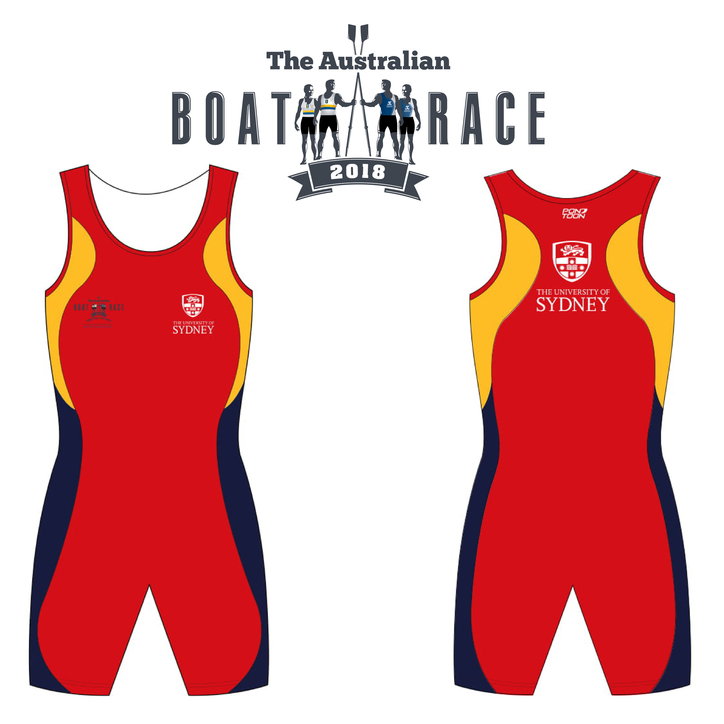 Sydney - The Sydney crew, in a departure from tradition, will not wear the traditional blue and gold on white uniforms. Instead, the 2018 uniform will be based on Sydney University's main brand colour an ochre red which reflects the Australian landscape. This colour forms the main front and back panels with the side panel being in gold for the top part of the suit and blue for the bottom. The shield of the university with the traditional lion and book of learning with cross and stars is featured in large size on the back and in small size on front left pocket with the logo of The Australian Boat race on the right pocket.