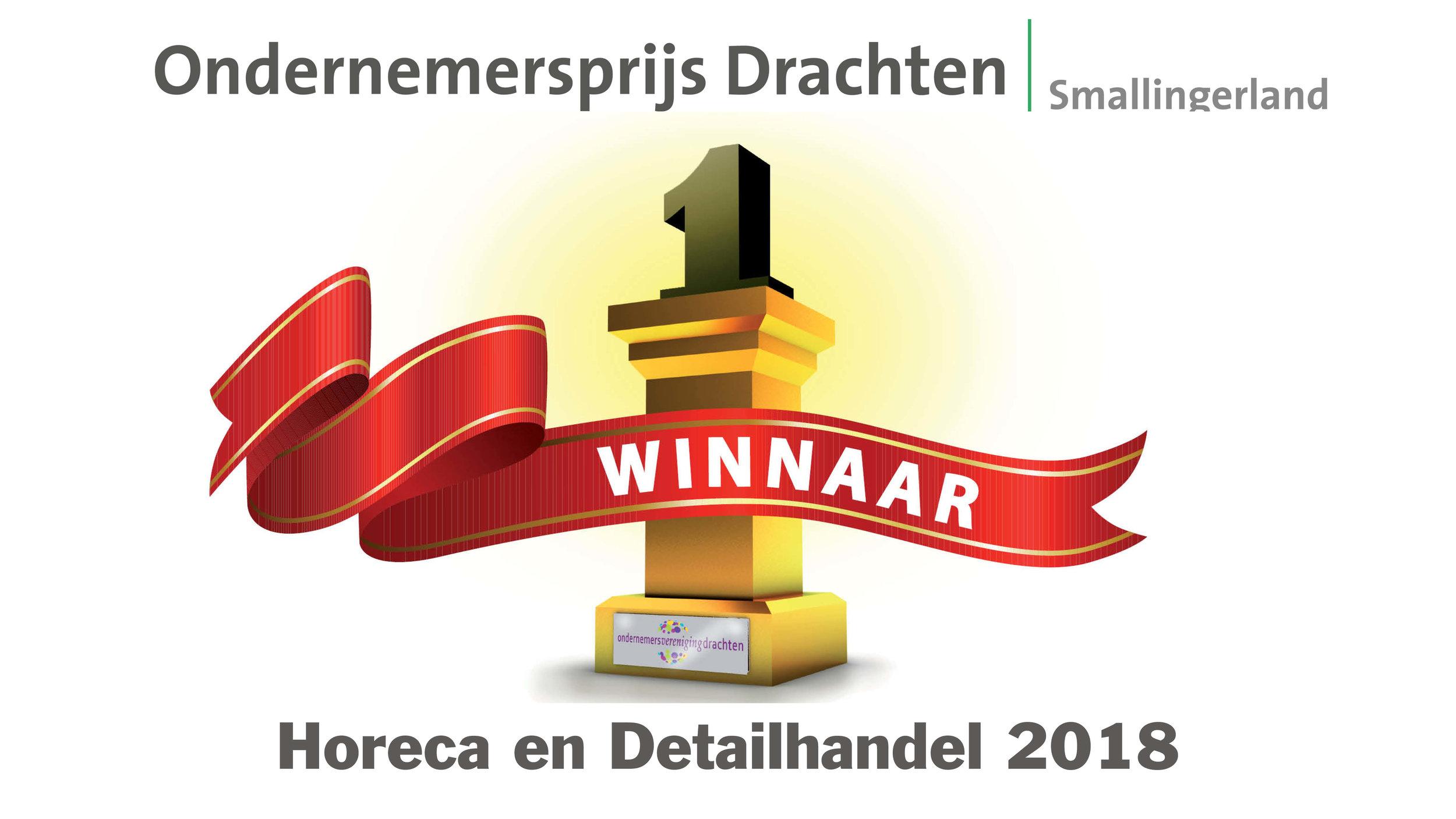 Gewonnen! - Door een vakkundige jury zijn wij verkozen tot onderneming van het jaar 2018 in de categorie Horeca en Detailhandel!