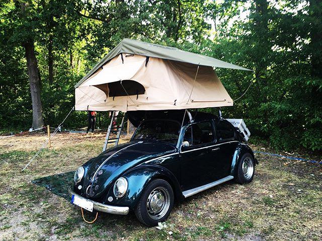 Wenn das Dachzelt beinah größer ist als das Fahrzeug selbst 🔝 Das zeigt wieder einmal, dass Dachzelte auf fast jedem Autodach montiert werden können. Dachzelten bietet damit eine tolle Alternative zu teuren Wohnmobilen. 🚗⛺️✔️ 🚐✖️ • • • • • #advamping #gehtalles #dachzelt #vwkäfer #campen #reisenmitauto #aufmdach #unterwegs #oldtimer #kleinaberfein #rooftoptents #autoliebe #imwaldentspannen #fahrendeshaus